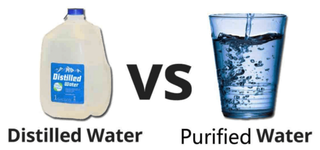 distilled vs pure water